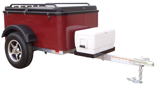 Vacationer small cargo trailer with cooler tray mounted on tongue